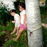 Angela and Meg on Lake Webb, Weld, ME circa 1988