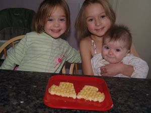 Gianna, Ellie and Mary with a waffle